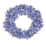 Hand  drawn summer elegant and romantic  graphic flower wreath in blue colors Stock Photography