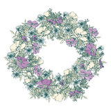 Hand  drawn summer elegant and romantic  graphic flower wreath with blue primrose Royalty Free Stock Images