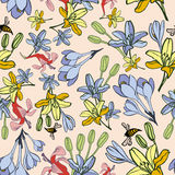 Hand-drawn summer flower seamless pattern Stock Photography