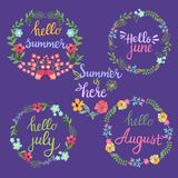 Hand drawn summer flowers wreaths with text Hello summer, june,. July, August lettering. Summer flowers with branches and leaves, summer time concept Stock Photo