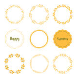 Hand Drawn Summer Frames Vector. Set of yellow frames on white. Stock Photo