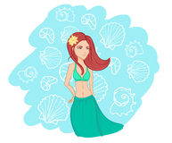 Hand drawn summer girl. Line art.Vector. Illustration of summer wooman. Background of shells Royalty Free Stock Images