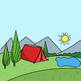 Hand drawn summer outdoors camp environment. Scene vector illustration