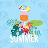 Hand drawn summer party greeting card, invitation with cocktail drink. Lemon, orange fruit with tropical palm and Royalty Free Stock Photography