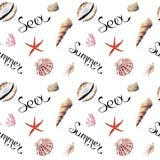 Hand drawn summer sea watercolor seamless patern with shells vector illustration