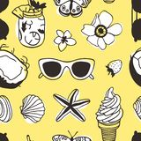Hand drawn summer seamless pattern with coconut, sunglasses, ice cream, shell and other. Tropical vector background. Artistic