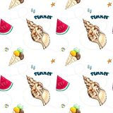 Hand drawn summer seamless pattern on white royalty free stock photos