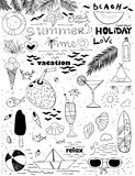 Hand drawn summer set Stock Images