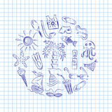 Hand Drawn Summer Symbols. Doodle Boats, Ice cream, Palms, Hat, Umbrella, Jellyfish, Cocktail, Sun Arranged in a Circle on Copyboo Royalty Free Stock Photo