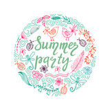 Hand drawn summer themed phrases. Modern style lettering. Summer party. Royalty Free Stock Photography
