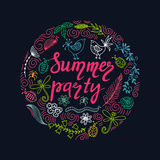 Hand drawn summer themed phrases. Modern style lettering. Summer party. Stock Images