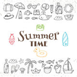 Hand drawn summer time collection. Beach theme doodle set.  Trop Royalty Free Stock Images