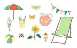 Hand drawn summer vacation set Royalty Free Stock Images