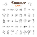 Hand drawn summer vector icon set. Beach icons collection. Vacat Stock Photos