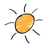 Hand drawn sun Stock Images