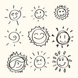 Hand drawn sun Stock Image