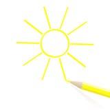 Hand drawn sun Stock Photo