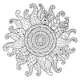 Hand drawn sun for anti stress colouring page. Pattern for coloring book. Made by trace from sketch. Illustration in zentangle style. Monochrome variant Royalty Free Stock Images