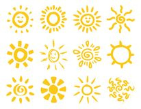 Hand drawn sun collection Stock Image