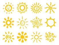 Hand drawn sun collection stock illustration