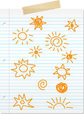 Hand drawn sun doodles on lined paper Stock Photo
