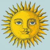 Hand drawn sun with face vector illustration