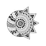 Hand drawn sun and new moon for anti stress colouring page. Pattern for coloring book. Illustration in zentangle style. Monochrome variant. Ethnic background Stock Images