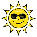 Hand Drawn Sun With Sunglasses Yellow And Black royalty free illustration