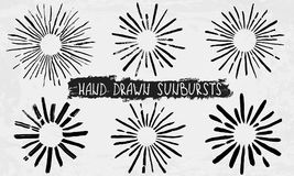 Hand drawn sunbursts Stock Photography