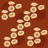 Hand-drawn sunflower pattern stock photo