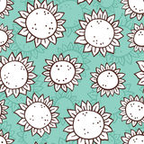 Hand drawn sunflower pattern. Royalty Free Stock Images