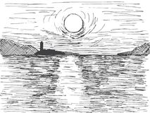 Hand drawn sunset sun over the sea. On the horizon is a mountain and a lighthouse. Vector illustration of a sketch style.  stock illustration