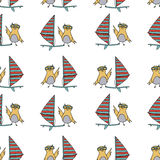 Hand drawn surfing bird seamless pattern. Royalty Free Stock Photo