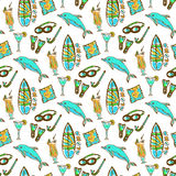 Hand drawn surfing and diving seamless pattern. Hawaii pattern with dolphin, cocktail and surf board. Tourism vector background. Banner or poster, travel Royalty Free Stock Images