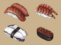 Hand drawn sushi set collection Royalty Free Stock Photography