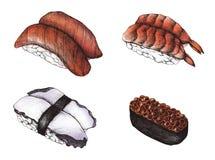 Hand drawn sushi set isolated Stock Images