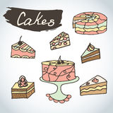 Hand drawn sweet cakes set. Bakery  elements sketch. Excellent for creating your own menu design. Royalty Free Stock Images