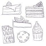 Hand drawn sweet cakes slices set vector illustration. Doodle illustration. Cake pieces, chocolate, cokie and sweets in doodle. Style. Vector illustration royalty free illustration