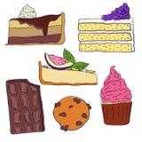Hand drawn sweet cakes slices set vector illustration. Doodle illustration. Cake pieces, chocolate, cokie and sweets in doodle. Style. Vector illustration stock illustration