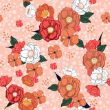 Hand drawn sweet colorful summer blooming flowers on pink floral. S background and texture in vector seamless pattern Stock Image