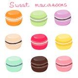 Hand drawn sweet macaroons vector set Royalty Free Stock Photo