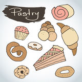 Hand drawn sweet pastry set. Bakery  elements sketch. Excellent for creating your own menu design. Royalty Free Stock Photography