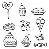 Hand drawn of sweet stuff Royalty Free Stock Photos