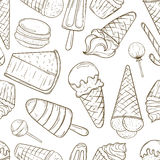 Hand drawn sweets and candies pattern. Stock Image