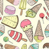 Hand drawn sweets and candies pattern. Seamless texture. Ice cream, cake, candy, macaron, cheesecake, cupcake doodles background vector illustration