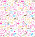 Hand drawn sweets and candies pattern. Vector doodles. Isolated food on white background. Seamless texture. Royalty Free Stock Photo