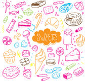 Hand drawn sweets and candies set. Vector doodles. Isolated food on white background. Royalty Free Stock Photography