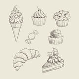Hand drawn sweets Royalty Free Stock Photography