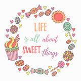 Hand drawn sweets circle frame Royalty Free Stock Images