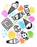 Hand drawn sweets doodle elements set with candies, cupcakes, cookies, chocolates, lollipops and macaroons. Stock Photo